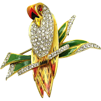 CORO CRAFT STERLING Stylized Love Bird on a Branch Brooch Enamel Rhinestones