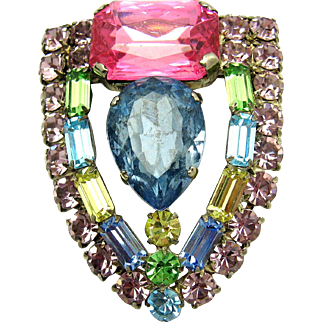 Vintage 1930s Costume Jewelry Brooch with Colorful Stones from an Estate Auction
