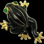 Vintage CINER Figural Frog Brooch Pin Green Gripoix Eyes Enamel 18k Gold Plated
