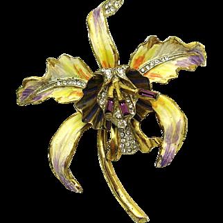 RARE 1944 CORO CRAFT Sterling Orchid Brooch Enamel Art and Rhinestones HTF