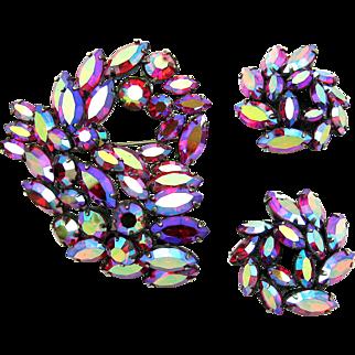 REGENCY Set Dimensional Brooch Earrings Red Aurora Borealis Crystal Stones