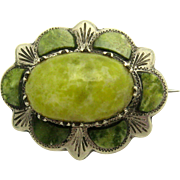 EDWARDIAN 1905 Irish Sterling Silver Connemara Marble Brooch Pin