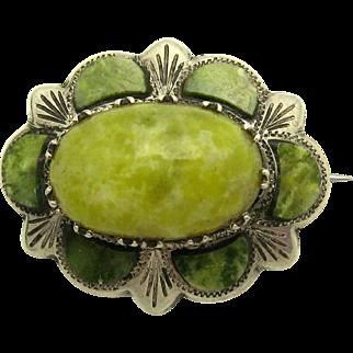 EDWARDIAN 1905 Irish Sterling Silver Connemara Marble Brooch Pin