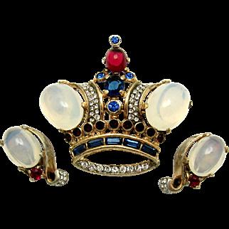 Iconic TRIFARI A. Philippe Sterling King Crown Set Brooch Earrings Moonstones