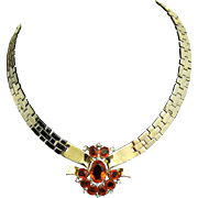 1948 CROWN TRIFARI A. Philippe Tessalated Link Necklace Topaz Rhinestone Medallion Pendant