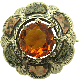 Antique Victorian c1890 Silver Scottish Agate Granite and 18.9ctw Citrine Brooch