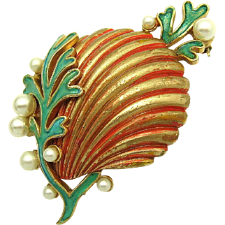 Rare TRIFARI A. Philippe Pearls Coral Enamel 'Under the Sea' Sea Shell Brooch