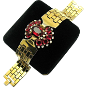 1948 TRIFARI A. Philippe Tesselated Ruby Red Faceted Rhinestones Bracelet