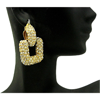 Beautiful Signed CINER Pave Swarovski Crystal Door Knocker Large Clip Earrings