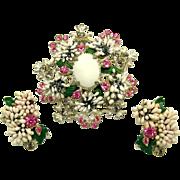 Vintage Incredible FLORENZA Grapes Set Brooch Earrings Sparkling Stones