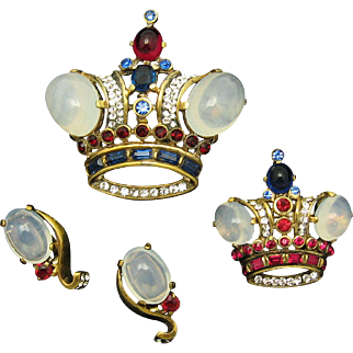 TRIFARI A Philippe Sterling Moonstone Royal Crown Pins Sterling Moonstone Clip Earrings