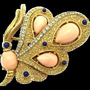 TRIFARI Vintage Gold Plated Rhinestones Cabochon Butterfly Brooch