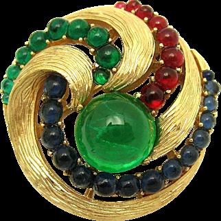 CROWN TRIFARI Moghul Jewels of India 'Evita' Gripoix Glass Cabochon Brooch