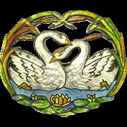 ART NOUVEAU C. LAMOND FILS Sterling Basse-taille Enamel Double Swans Brooch