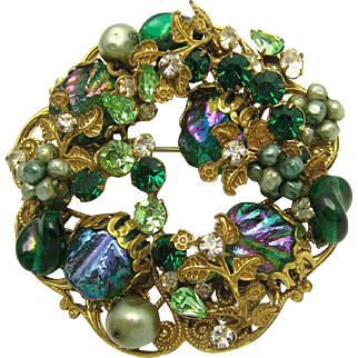 Vintage ORIGINAL BY ROBERT Large Crystal Rhinestone and Art Glass Brooch