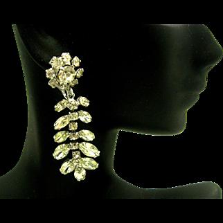 Vintage SHERMAN Chandelier Flower Dangle Clip Earrings Sparkling!