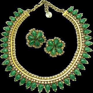Vintage 1957 HOBE Set Necklace and Earrings Faux Jade Cabs Crystal Rhinestones