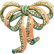 ULTRA RARE 1940 CROWN TRIFARI Crystal Rhinestone Enamel Bow Pin Clip