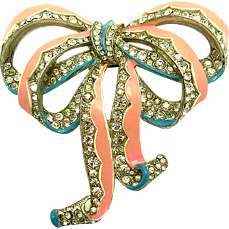 ULTRA RARE 1940 CROWN TRIFARI Crystal Rhinestone Enamel Bow Pin Clip