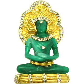 RARE and Beautiful HATTIE CARNEGIE Dimensional King Buddha Brooch Book Piece
