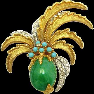 RARE Vintage JOMAZ Dimensional Pineapple Brooch Faux Jade Crystal Rhinestones