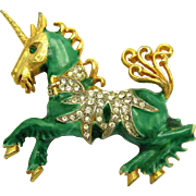 ULTRA RARE KENNETH J LANE (KJL) Unicorn Brooch Enamel and Rhinestones