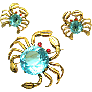VERY RARE REJA Sterling Set of Crabs Brooch Earrings Aqua Faceted Crystal Bellies