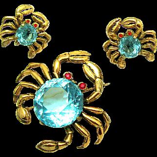 VERY RARE REJA Sterling Set of Crabs Brooch Earrings Aqua Faceted Crystal Bellies