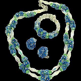 Vintage VENDOME Parure Crystal Necklace Bracelet Earrings Rhinestone Set Flowers