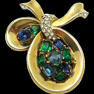 VIntage 1956 CROWN TRIFARI Jeweled Symphony Brooch Sapphire Emerald Crystals