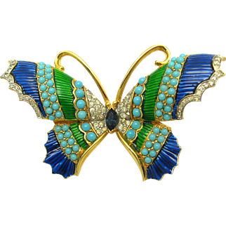 Vintage JOMAZ Large Butterfly Brooch Enamel and Rhinestones Estate Find
