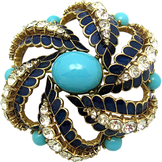 CINER Faux Glass Turquoise Cabs Enamel Crystal Rhinestones Dimensional Brooch