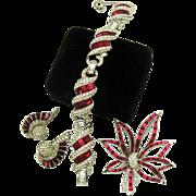 Brilliant BOUCHER Ruby Red Bracelet Brooch Earrings Married Set Must See!