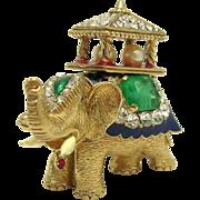 CINER India Maharaja Howdah Elephant Brooch Rhinestones Enamel