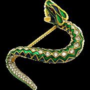 Rare JOMAZ Statement Serpent Snake Brooch Enamel Rhinestones Striking!