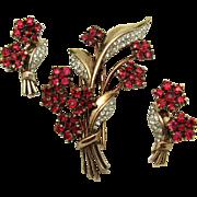 1940s CROWN TRIFARI Philippe Sterling Floral Set Ruby Red Fur Clip Earrings