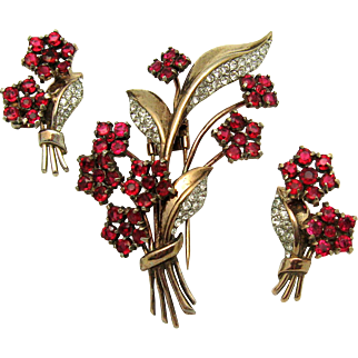 1940s CROWN TRIFARI Philippe Sterling Floral Set Ruby Red Fur Clip Earrings
