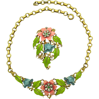 Gorgeous 1939 TRIFARI A. PHILIPPE Set Enamel Rhinestones Necklace Brooch Clip