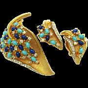 JOMAZ Set Faux Turquoise Lapis Cabochons Leaf Brooch & Earrings Book Piece