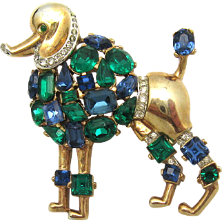 1950 TRIFARI Philippe 'Jeweled Symphony' Poodle Brooch Colorful Rhinestones