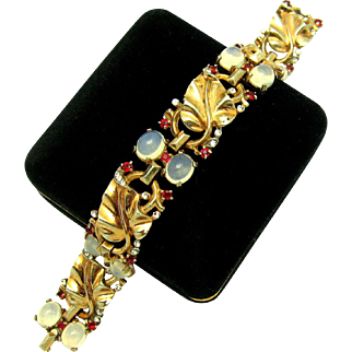 TRIFARI Sterling 'Alfred Philippe' Moonstone Cabs and Golden Leaves Bracelet