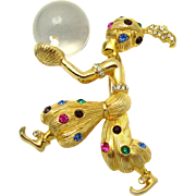 Large CASTLECLIFF Genie with Crystal Ball Brooch Rhinestones 18k Gold Plate