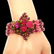 Outstanding MIRIAM HASKELL Pink Art Glass Pink Rose Montees 4 Strand Bracelet