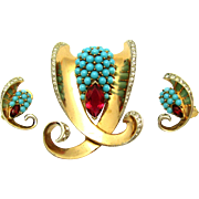 Rare BOUCHER MB 1946 Sterling Faux Turquoise & Red Crystal Set Brooch Earrings