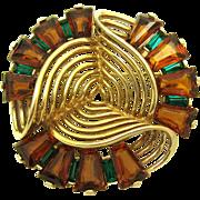 Vintage MB BOUCHER 1940s Dimensional Gold Scroll Ribbon Brooch Phrygian Cap