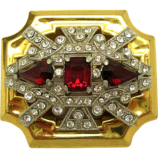 1940s Historical Vintage MCCLELLAND BARCLAY Brooch Red and Clear Rhinestones