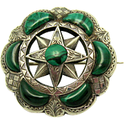 Large Victorian 1890 Sterling Silver Scottish Agate Malachite Brooch
