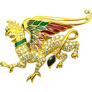 Ultra Rare 1997 LTD. Edition TRIFARI TM Enamel Rhinestones Winged Griffin Brooch