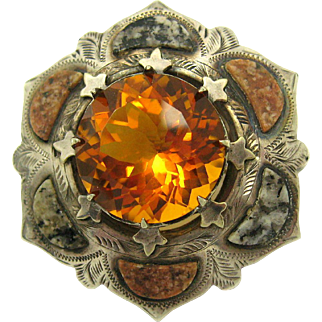 Antique Victorian c1890 Silver Scottish Agate Granite and 19.3ctw Citrine Brooch