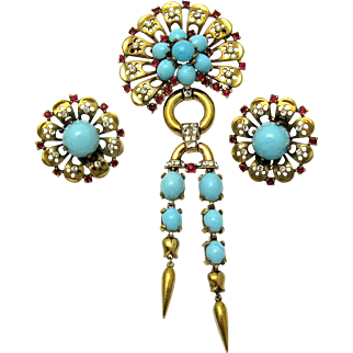 TRIFARI A. Philippe Sterling Set Dangle Brooch Earrings Turquoise Cabs Rhinestones